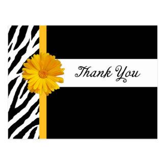 Cartão Postal Obrigado com impressão da zebra e a margarida
