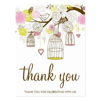 Cartão Postal Obrigado cor-de-rosa & amarelo dos Lovebirds dos