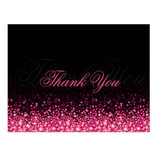 Cartão Postal Obrigado cor-de-rosa cintilante do preto do brilho