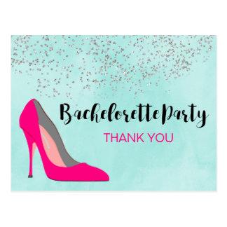 Cartão Postal Obrigado cor-de-rosa da festa de solteira do salto