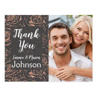 Cartão Postal Obrigado cor-de-rosa do casamento do ouro e das