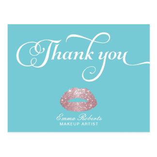 Cartão Postal Obrigado cor-de-rosa dos lábios do brilho do ouro