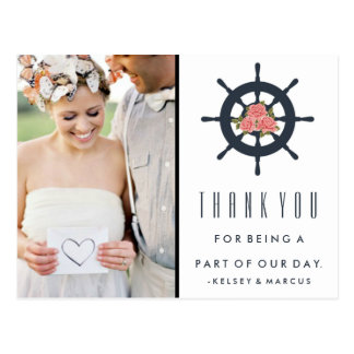 Cartão Postal Obrigado cor-de-rosa náutico do casamento você