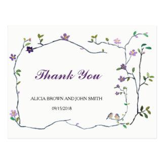 Cartão Postal Obrigado da aguarela da flor do casamento você