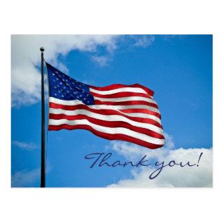 Cartão Postal Obrigado da bandeira americana você