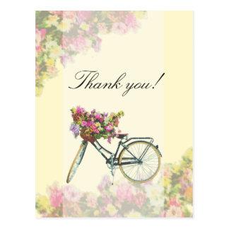 Cartão Postal Obrigado da bicicleta das flores do primavera do