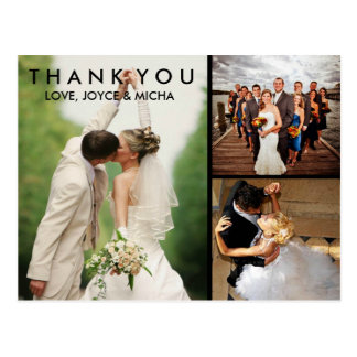 Cartão Postal Obrigado da colagem da foto do casamento você