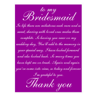 Cartão Postal Obrigado da dama de honra você