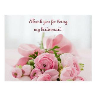 Cartão Postal Obrigado da dama de honra você pica rosas