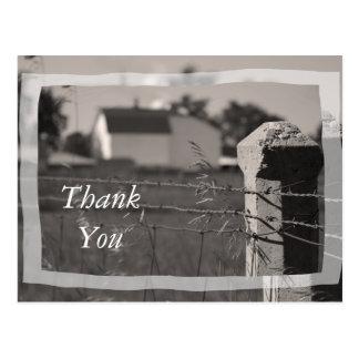 Cartão Postal Obrigado da fazenda do país você
