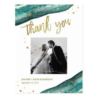 Cartão Postal Obrigado da foto do casamento de Geode da cerceta