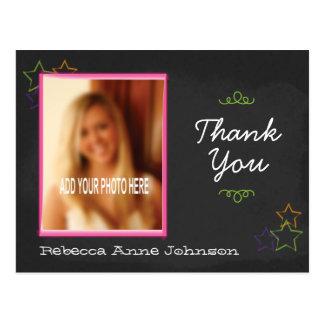 Cartão Postal Obrigado da graduação do quadro você com foto