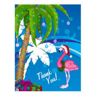 Cartão Postal Obrigado da praia do feriado do flamingo do papai