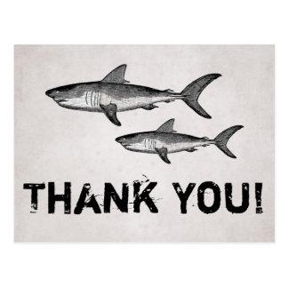 Cartão Postal Obrigado da praia do oceano dos tubarões da mamã e