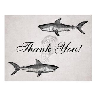 Cartão Postal Obrigado da praia do oceano dos tubarões e das