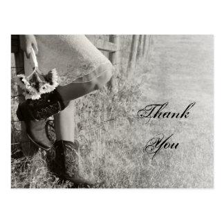 Cartão Postal Obrigado da vaqueira e do casamento do país dos