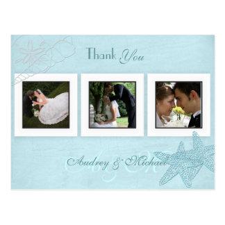 Cartão Postal Obrigado das fotos do casamento de praia você
