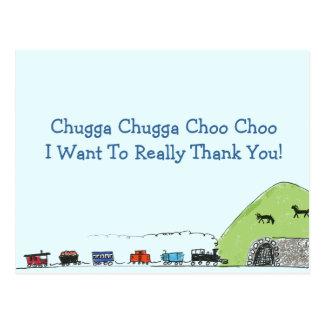 Cartão Postal Obrigado de Choo Choo do trem dos miúdos você