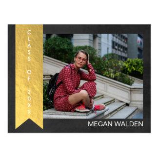 Cartão Postal Obrigado de Graduat da folha de ouro do giz & do