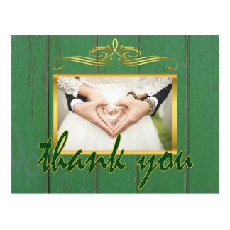 Cartão Postal Obrigado de madeira verde rústico você foto do