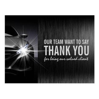 Cartão Postal Obrigado de Preto Carro Automotriz Empresa você