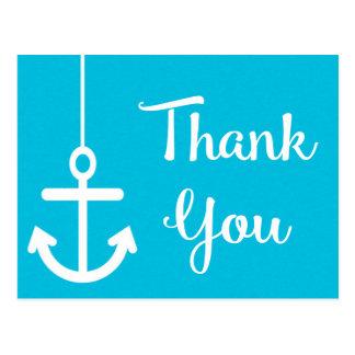 Cartão Postal Obrigado de turquesa da âncora do navio você