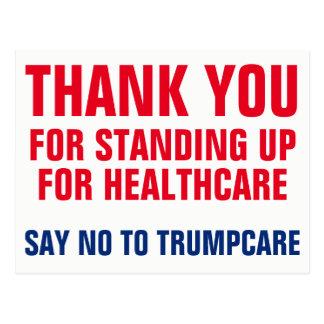 Cartão Postal Obrigado dizendo NÃO a Trumpcare AHCA