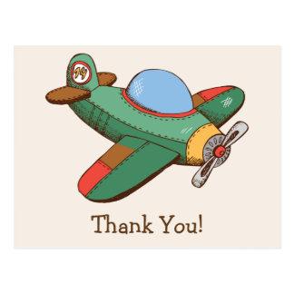 Cartão Postal Obrigado do avião do brinquedo do vintage você