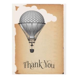 Cartão Postal Obrigado do balão de ar quente de Steampunk você