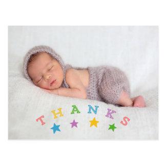 Cartão Postal Obrigado do bebê da foto dos obrigados | da