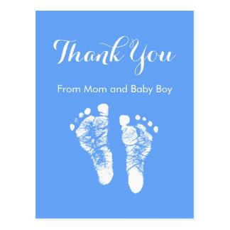 Cartão Postal Obrigado do bebé você pegadas recém-nascidas azuis