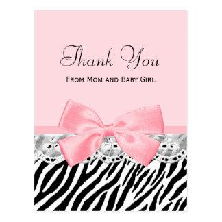 Cartão Postal Obrigado do bebê você pica o impressão da zebra da