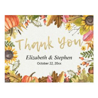Cartão Postal Obrigado do casamento da abóbora das folhas de
