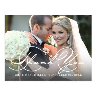 Cartão Postal Obrigado do casamento da foto do roteiro da
