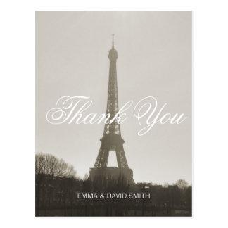 Cartão Postal Obrigado do casamento da torre Eiffel de Paris do