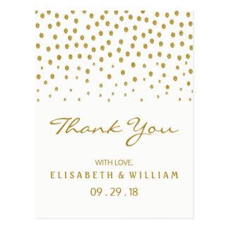 Cartão Postal Obrigado do casamento das bolinhas do ouro você
