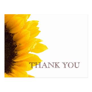 Cartão Postal Obrigado do casamento do girassol de Brown amarelo