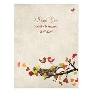 Cartão Postal Obrigado do casamento do ninho de amor você