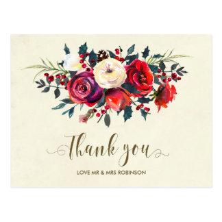 Cartão Postal obrigado do casamento no inverno você bagas dos