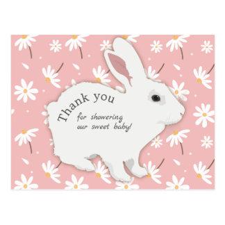 Cartão Postal Obrigado do chá de fraldas do coelho das