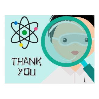 Cartão Postal Obrigado do cientista do menino da lupa você
