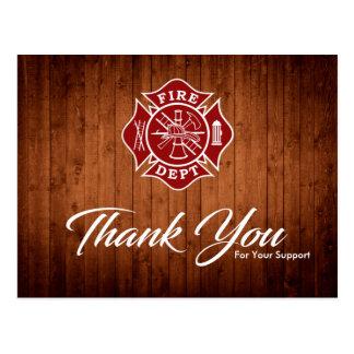 Cartão Postal Obrigado do departamento do sapador-bombeiro/fogo