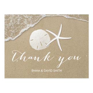 Cartão Postal Obrigado do dólar da estrela do mar & de areia da