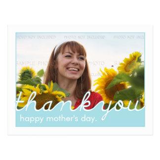 Cartão Postal Obrigado do feliz dia das mães você, foto branca