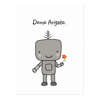 Cartão Postal Obrigado do robô você geek engraçado bonito de