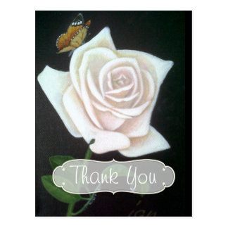 Cartão Postal Obrigado do rosa branco e da borboleta você