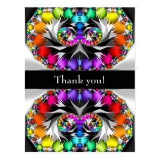 Cartão Postal Obrigado do toque do arco-íris do Fractal você