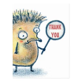 Cartão Postal Obrigado dos miúdos da ilustração do ouriço você
