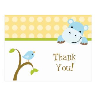 Cartão Postal Obrigado dos polkadots do pássaro e do hipopótamo