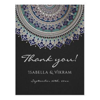 Cartão Postal Obrigado elegante do casamento da mandala você